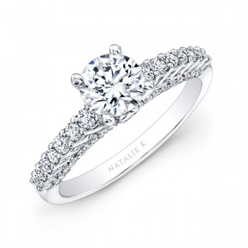 18k White Gold Prong and Bezel Round Diamond Engagement Ring