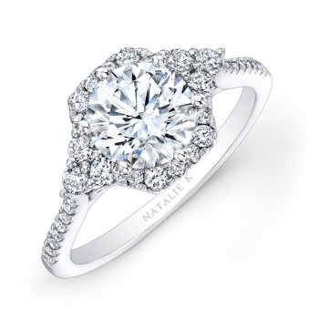 18k White Gold Prong Set White Diamond Engagement Ring