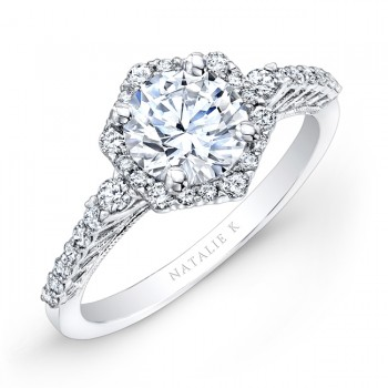 14k White Gold Prong Halo White Diamond Engagement Ring