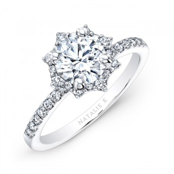14k White Gold Star Halo White Diamond Engagement Ring