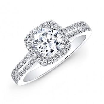 18k White Gold Split Shank Square Halo Diamond Engagement Ring