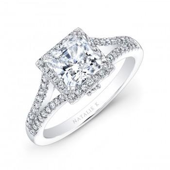 18k White Gold Split Shank Princess Cut Halo Diamond Engagement Ring NK28084-18W