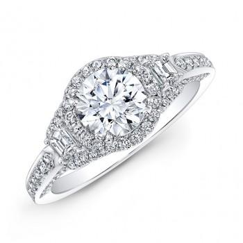 18k White Gold Diamond Halo Trapezoid Side Stone Engagement Ring