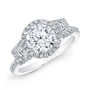 18k White Gold Trapezoid Diamond Side Stone Diamond Halo Engagement Ring