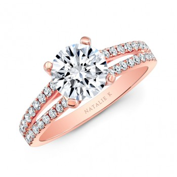18k Rose Gold Split Shank Diamond Engagement Ring