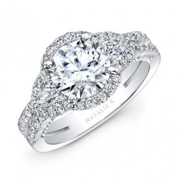 18K White Gold Diamond Halo Pear Shaped Side Stone Split Shank Engagement Ring