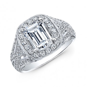 18k White Gold Vintage-Inspired Diamond Halo Engagement Ring