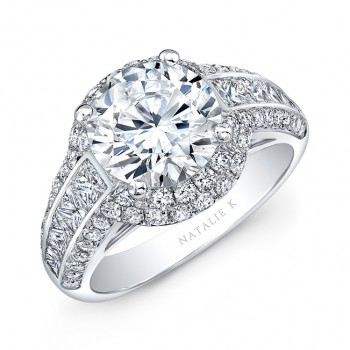 18k White Gold Double Halo Channel Set Diamond Engagement Ring