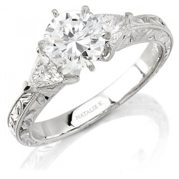 14k White Gold Classic Diamond Engagement Ring with Side Stones NK6225-W
