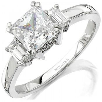 14k White Gold Elegant Three Stone Emerald Cut Diamonds Engagement Ring NK8288-W