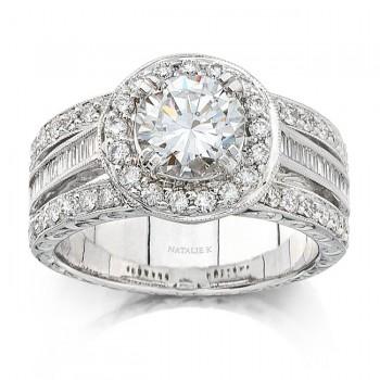 14k White Gold Vintage Halo Diamond Engagement Semi Mount Ring NK8412-W