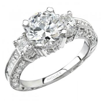 14k White Gold Three Stone Diamond Engagement Semi Mount Ring NK8789-W