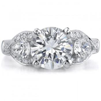 18k White Gold Classic Three Stone Diamond Engagement Ring NK8792-W