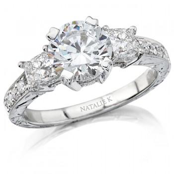 18k White Gold Three Stone Princess Cut Diamond Semi Mount Engagement Ring NK8954-W