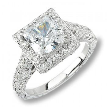 14k White Gold Pave Set Diamond Engagement Semi Mount Ring NK9178-W