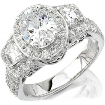 14k White Gold Three Stone Strapezoid Diamond Semi Engagement Ring NK9875-W