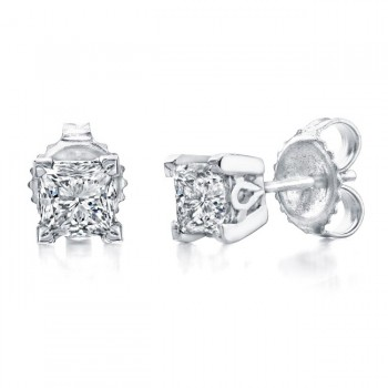 Princess Cut Diamond Stud Earrings 1ct
