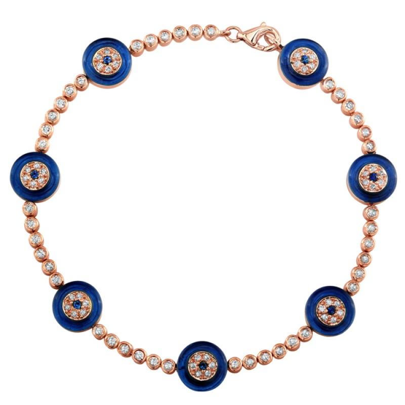 Diamond and Sapphire Evil Eye Bracelet
