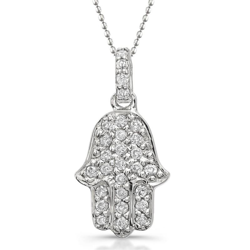 14k White Gold Pave Diamond Hamsa Pendant