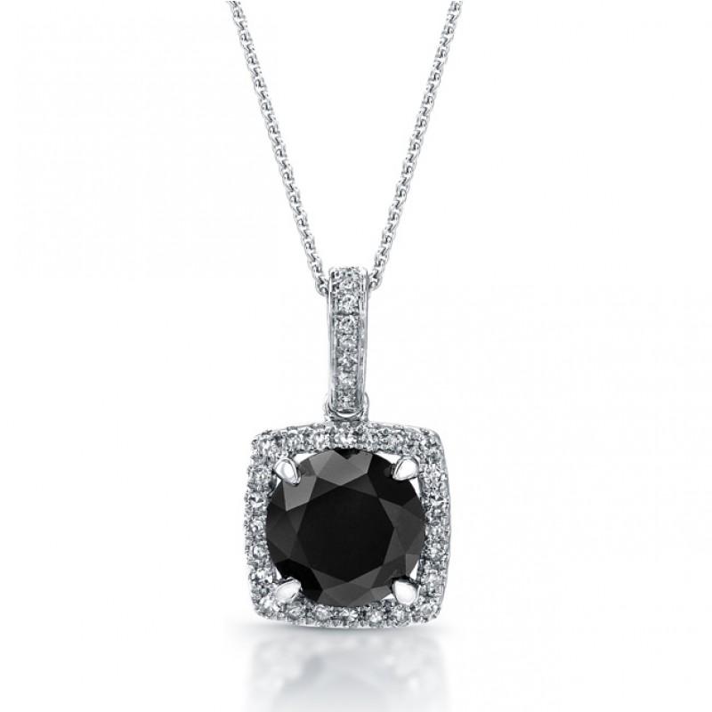 14k White Gold Black Diamond Halo Pendant