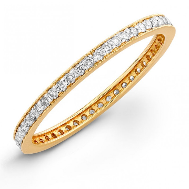 14k Yellow Gold Stackable Eternity Band