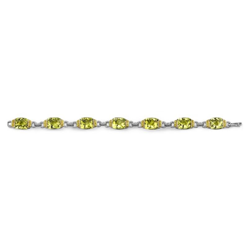 18k White and Yellow Gold Diamond, Lemon Quartz, and Yellow Sapphire Bracelet NK13423LQ-WY