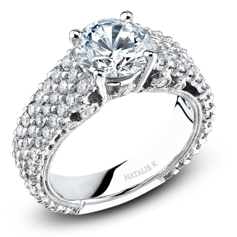 18k White Gold Pave Prong Classic Diamond Engagement Ring NK15198-W