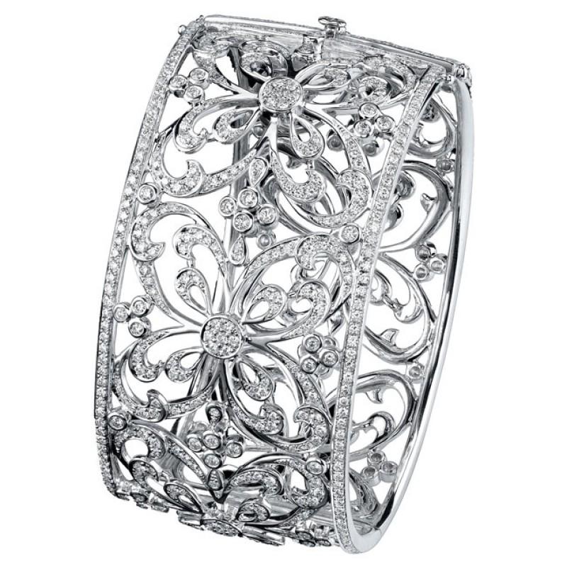 18k White Gold Pave Bezel Ladies Diamond Bangle NK18093-W
