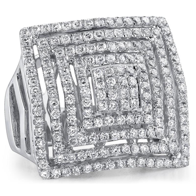 18k White Gold Fashion Diamond Square Band NK18559-W