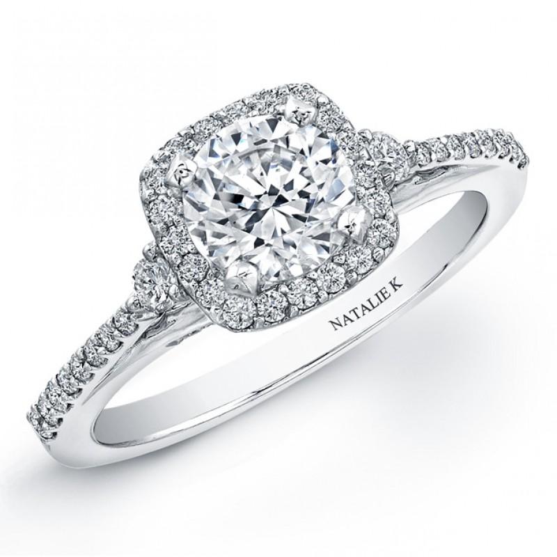 18k White Gold Micro Prong Halo Diamond Semi Mount Engagement Ring NK20399ENG-W