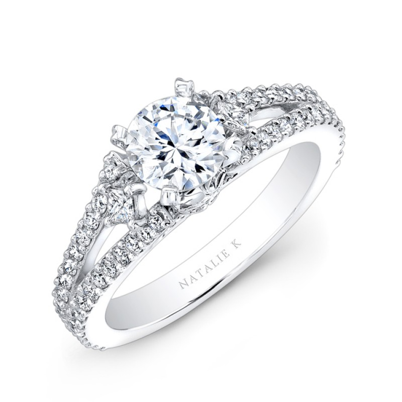 18k White Gold Split Shank Pave Diamond Semi Mount Engagement Ring with Side Trapezoid Diamonds