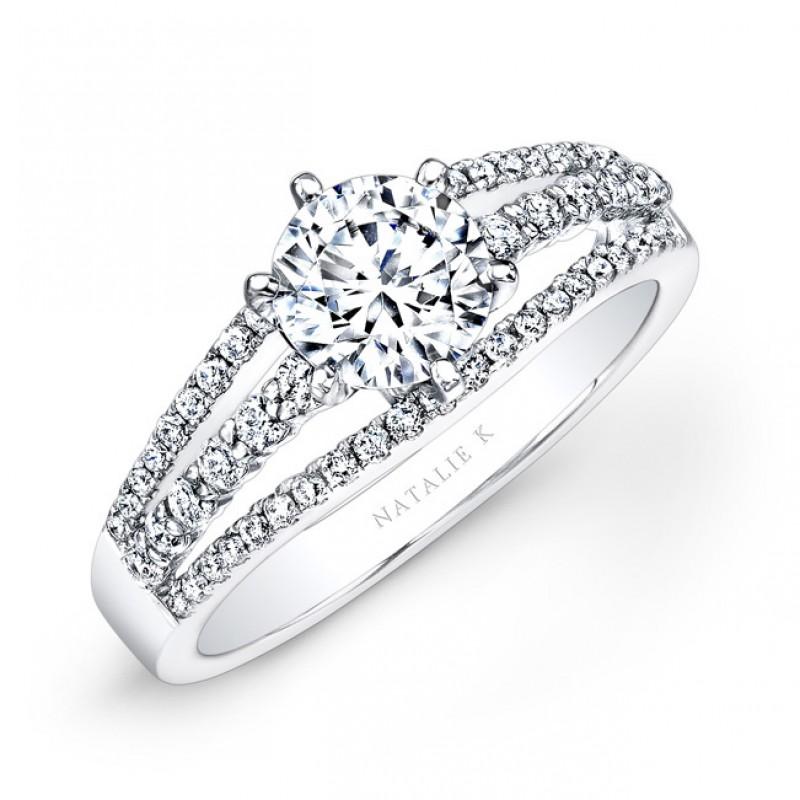 18k White Gold Split Shank Pave White Diamond Engagement Ring
