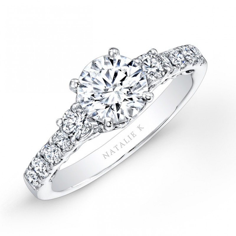 14k White Gold Pave and Prong White Diamond Engagement Ring