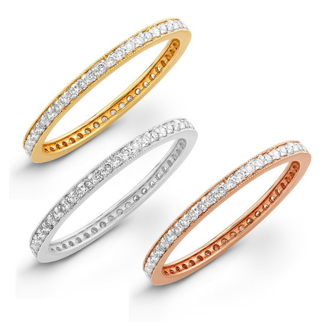 14k White, Yellow and Rose Gold Stackable Eternity Band Set