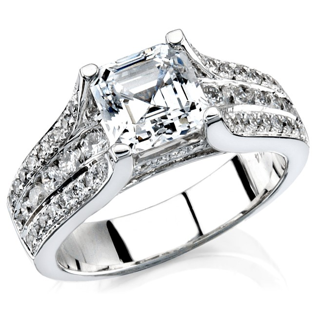 14k White Gold Diamond Pave Channel Engagement Semi NK12077-W