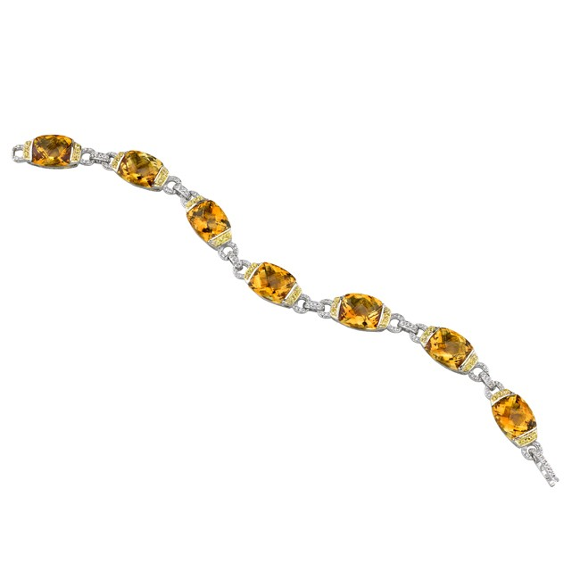 18k White and Yellow Gold Diamond, Citrine, and Yellow Sapphire Bracelet NK13423CT-WY