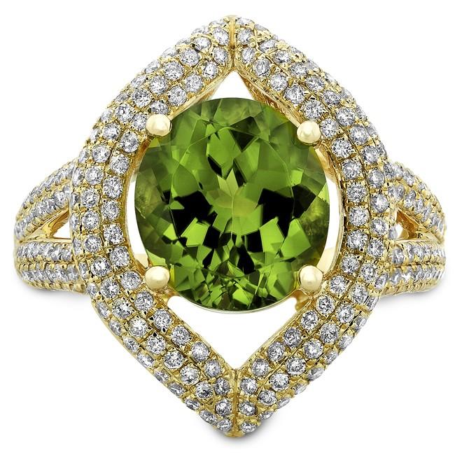 14k Yellow Gold Peridot Pave Diamond Cocktail Ring NK19371P-Y