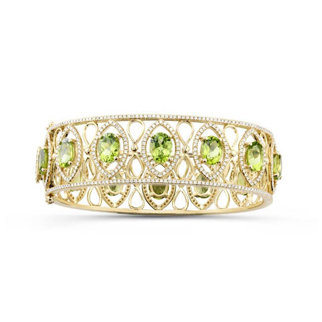 14k Yellow Gold Regal Peridot Diamond Bracelet - NK19608P-Y
