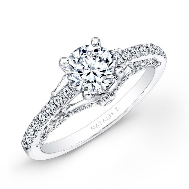 18k White Gold Prong Bezel Set White Diamond Engagement Ring