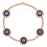 14k Rose Gold 5 Evil Eye Diamond Tennis Bracelet