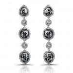 18k White Gold Black Diamond Drop Earrings
