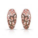 14k Rose and Black Gold White and Black Diamond Flourish Earrings