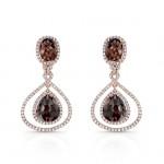 14k Rose Gold Rose-Cut Brown Diamond and White Diamond Earrings