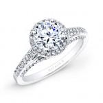 18k White Gold Prong and Bezel Halo White Diamond Engagement Ring