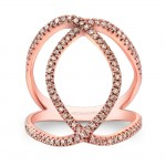 14k Rose Gold White Diamond Linking Fashion Band