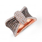 18k Rose Gold Brown and White Diamond Bow Band