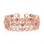 18K Rose Gold Mixed Fancy Color Diamond Accent Pink Diamond Spiral Bracelet