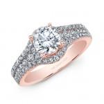 18K Rose Gold White Diamond Engagement Ring