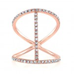 14k Rose Gold Diamond Trend Ring