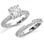 14k White Gold Pave Prong Round Diamond Bridal Set NK10224WE-W